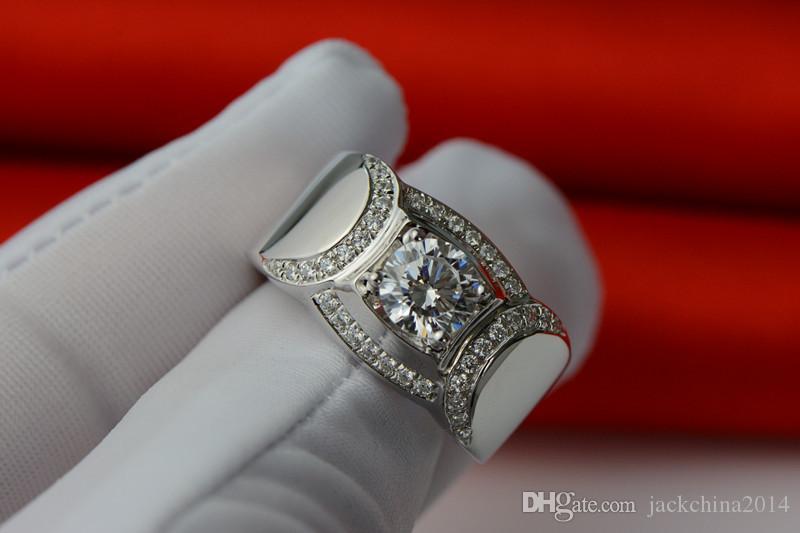 2016 Nuovi Monili di Modo Caldo 925 Sterling Silver Taglio Rotondo Topaz Simulato Diamante Pietre Preziose Wedding Band Anelli Amante Regalo Size7-13