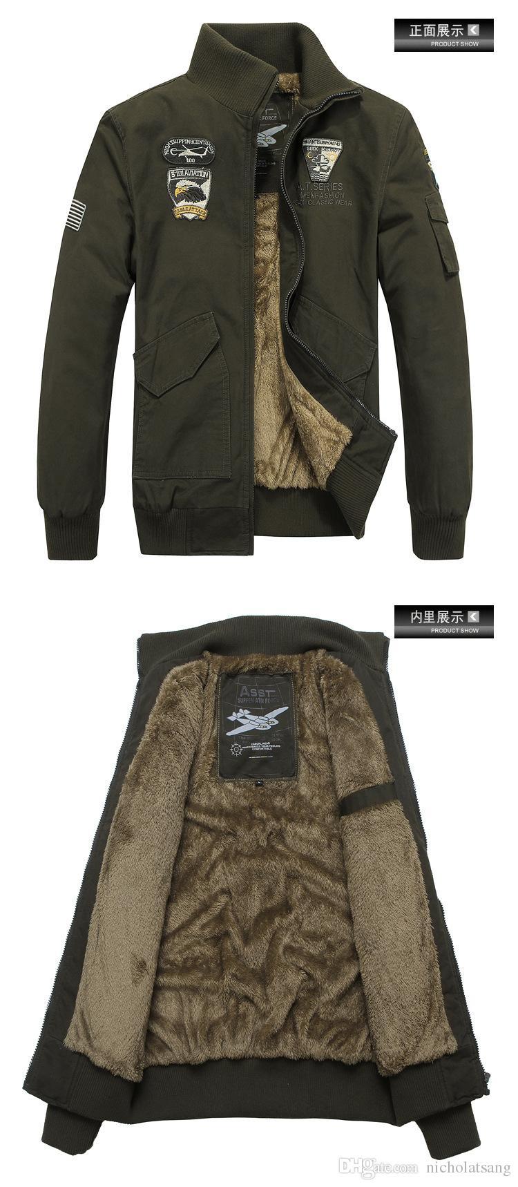 2016 alta calidad para hombre ejército soldado chaqueta lavadora algodón aire de la fuerza aérea 101 chaqueta piloto de aire masculino mas masculino talla grande invierno táctico bomber abrigos