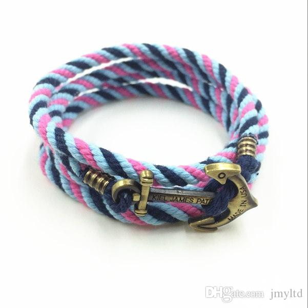 Fashion Jewelry 2016 KJP Custom Vintage Nautical Letter Alloy Anchor With Colorful Cotton Cord Hot Sale Bracelet For Men
