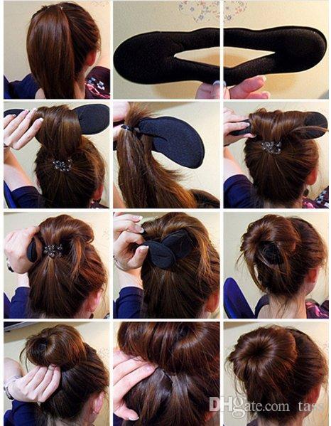 2 Unids / lote Pelo Braider Magic French Sponge Fácil DIY Herramientas de Peinado de Belleza Fabricante de Bollo de la Bisagra Twist Rizador de Pelo Coiffure Roller