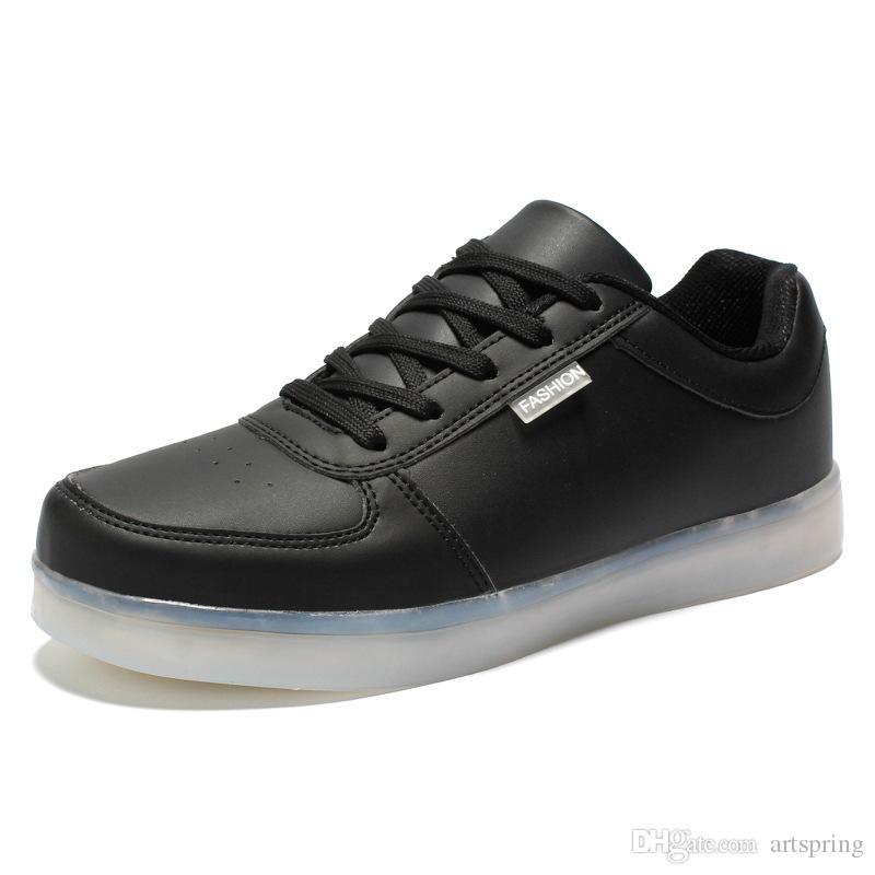 .LED luminous shoes unisex sneakers men & women sneakers USB charging light shoes colorful glowing leisure flat shoes black colors