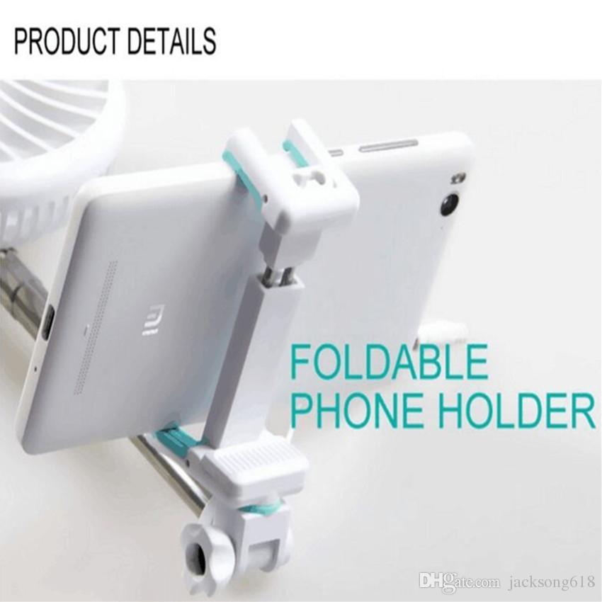 Novo Selfie Varas com Ventilador Do Telefone Da Câmera Self Shutter Power Bank 2200 mah Bateria 18605 Potência para Telefones Android IPhone Atacado