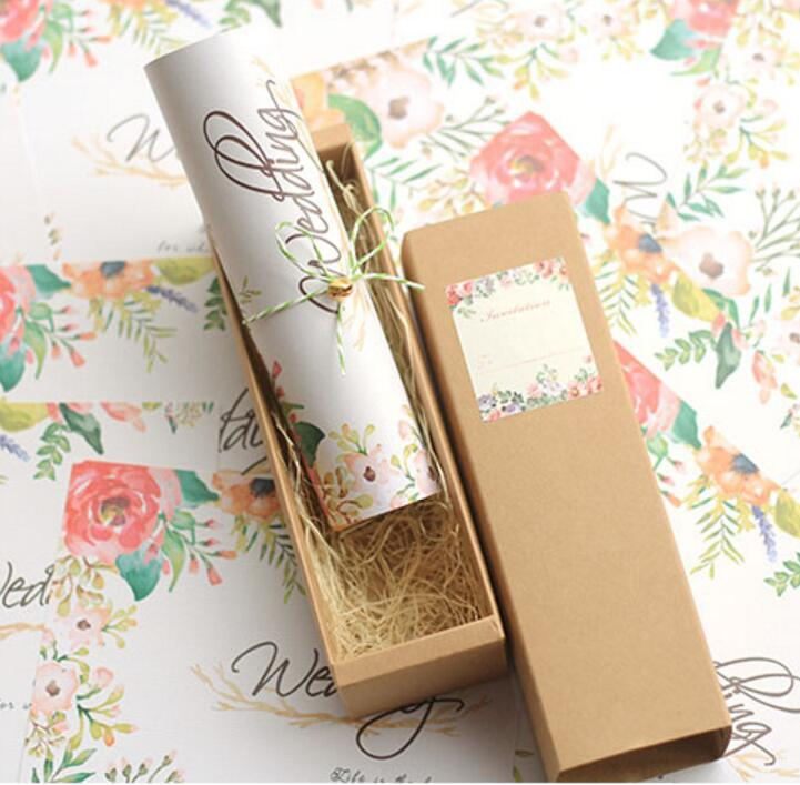 50x Free Personalized U0026 Customised Printing Kraft Paper Box Scroll Wedding  Invitations Card Bt09, Free Wedding Invitations Samples Handcrafted Wedding  ...