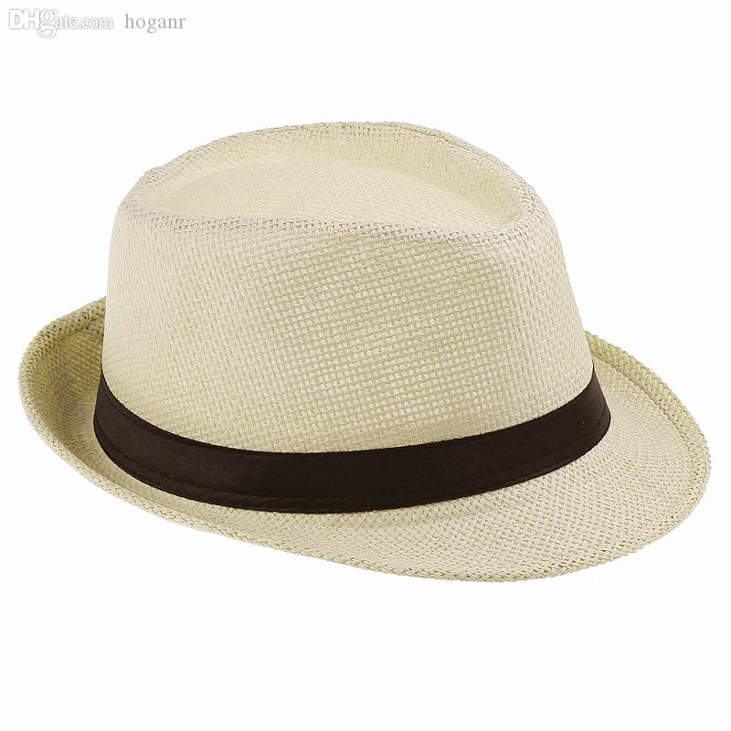 Wholesale-2016 Fashion Summer Fedora Hats for Women Men Jazz Caps Panama Trilby Gangster Cap Beach Straw sun Hat with Ribbow Band Sunhat