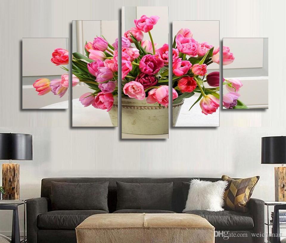 5 Paneli HD Baskılı Laleler Çiçek Kanvas Odası Dekor poster resim Tuvaliyle Oluşturma Duvar Boyama Baskı Baskı Boyama
