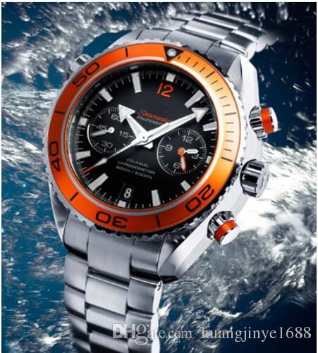 26cdb1cde58 Compre Atacado Luxo New James Bond 007 Automatic Black Dial Orange Bezel  Stainless Bracelet Relógios De Mão De Alta Qualidade Para Homens Relógios De  ...