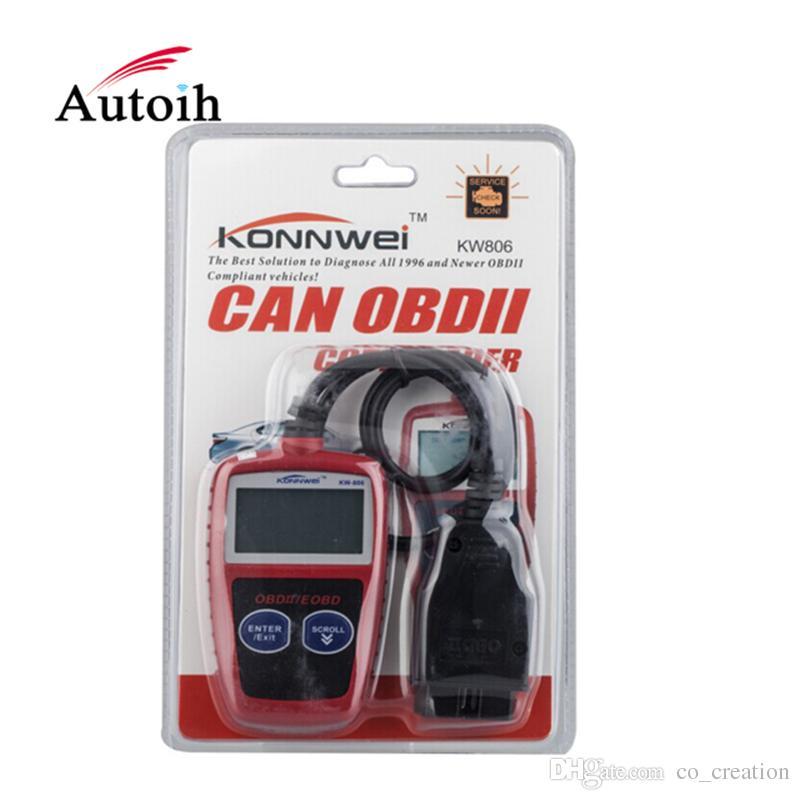 Wholesale- KONNWEI KW806 Universal Car OBDII Can Scanner Error Code Reader Scan Tool OBD 2 BUS OBD2 Diagnosis Scaner PK AD310 ELM327 V1.5