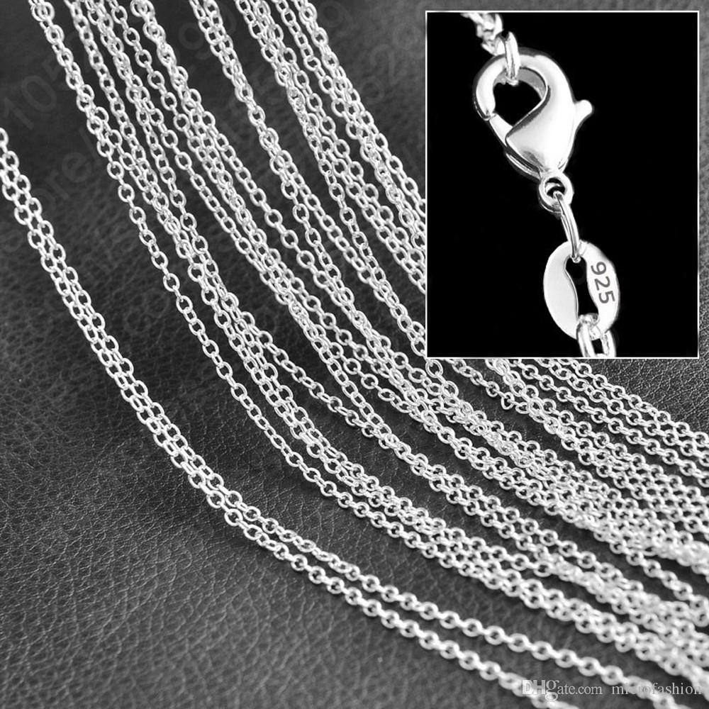 Wholesale New Silver Necklace & Pendant Fashion Jewelry Accessories Thin Chain Heart 925 Silver Necklaces women Necklaces