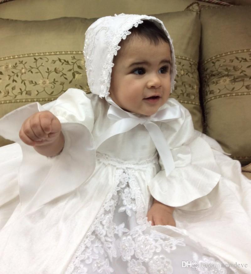 Vintage Baby Christening Dresses High Quality Lace Appliques Baptism Outfits Formal Infant Girl Wear With Bonnet