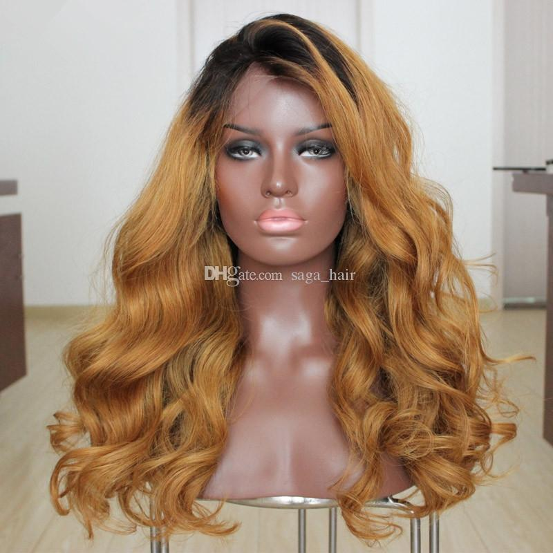 Side Middle Part Honey Blonde Ombre Full Lace Wig Two Tone
