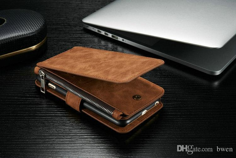 2 in 1 Leather Wallet Case for Samsung Galaxy S7 edge Note 7 For iphone 6 plus 7 Flip Cover Mobile Phone Bag