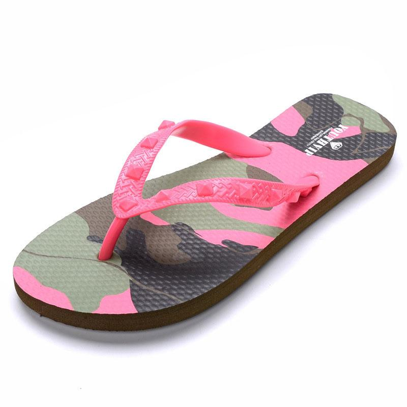 c03420f0eeb6 Women Flip Flops Camouflage Rivet Beach Anti Skid Sandals Beach Flat Shoes  Outdoor Sandals Slipper 100% High Quality YV1503M Gold Shoes Girls Boots  From ...