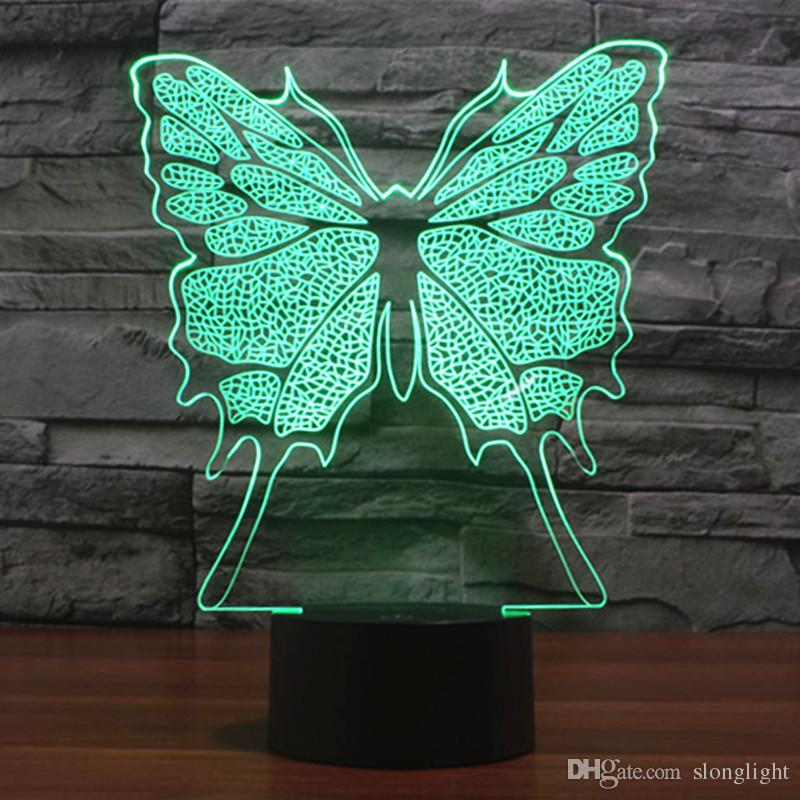 Free Ship Glowing Changing Insect Butterfly 3D Acrylic LED Night Light USB LED Decorative Table Lamp Baby Desk Lighting