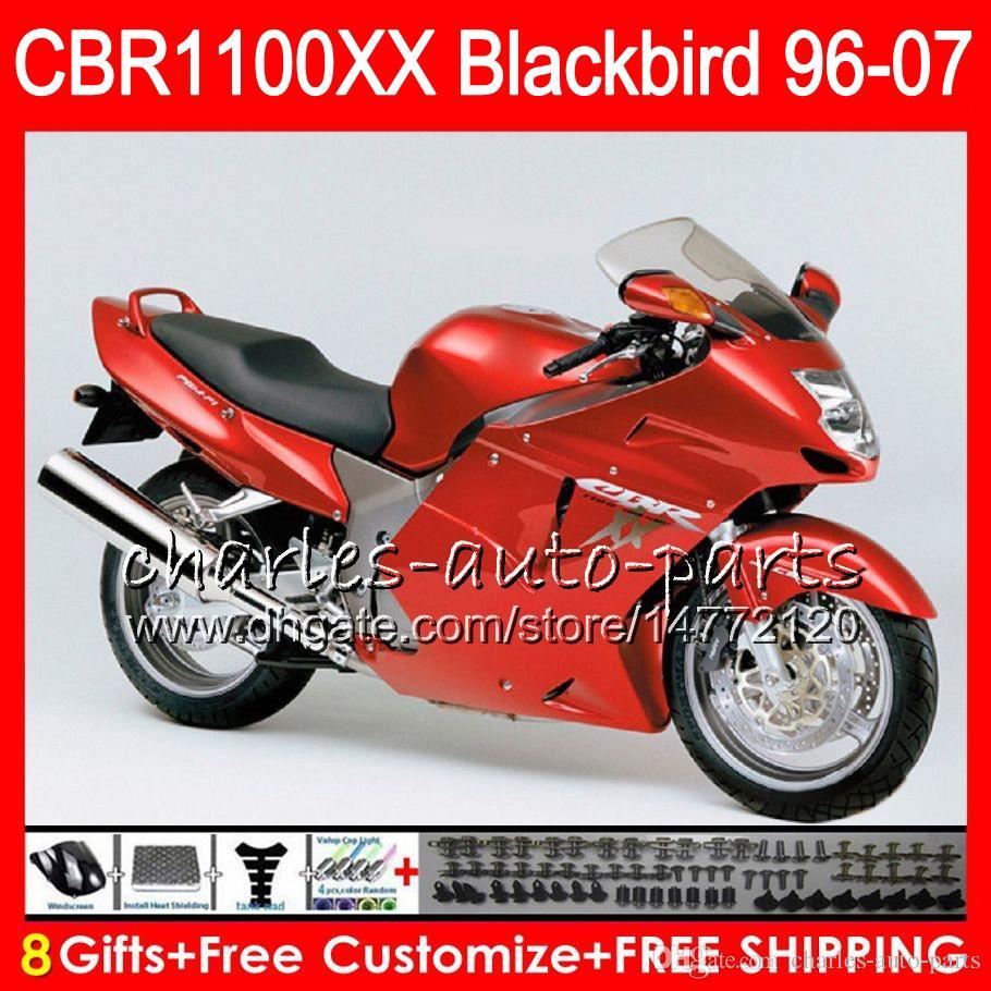 Body For HONDA Blackbird CBR1100 XX Glossy red CBR1100XX 02 03 04 05 06 07 81NO52 CBR 1100 XX 1100XX 2002 2003 2004 2005 2006 2007 Fairing