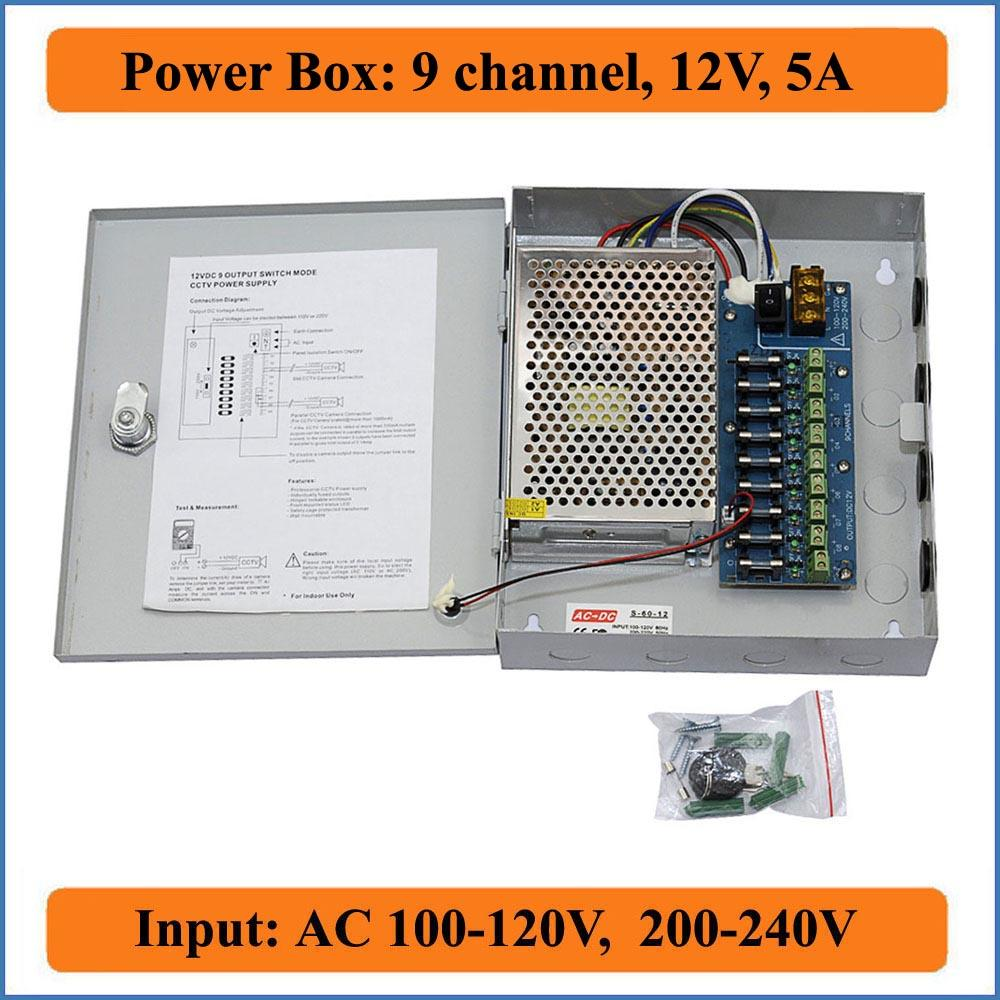 9CH Port DC12V 5A CCTV Camera Power Box Adapter Switching Power supply Box Distribution 9 channels Input AC 100-240V to DC 12V