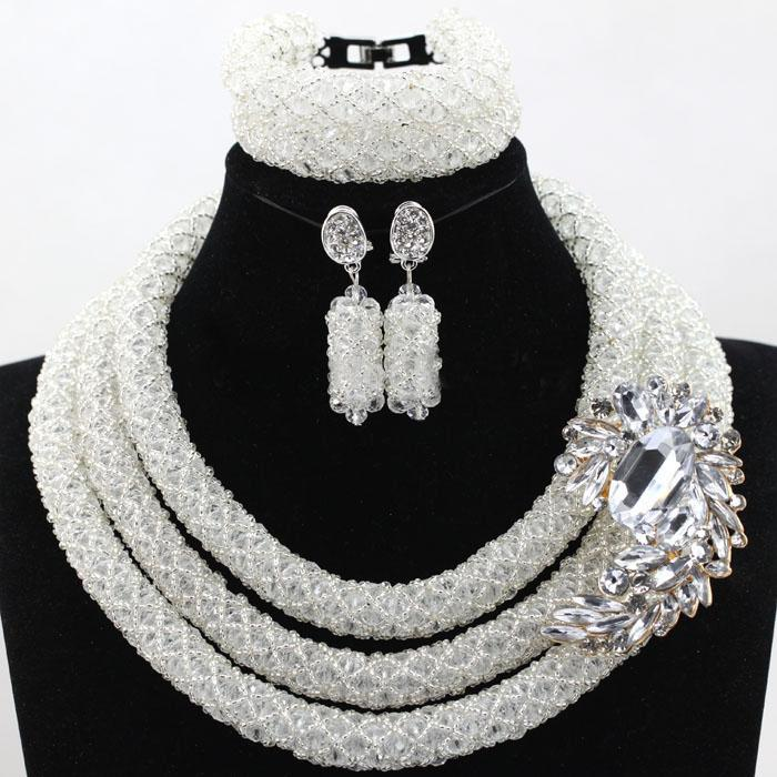 e15e3f3587a5 Compre Collar Nupcial De La Vendimia Establece Nigerian Wedding African  Beads Crystal Necklace Pulsera Pendientes Elegante Púrpura Rosa 3 Capas  Para Regalo ...