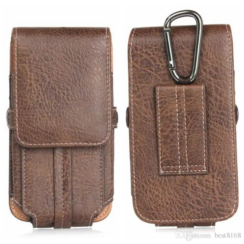 For Iphone 7 6 6S 5 5S/Galaxy S8/S7/Edge/S6/Plus Universal Celular Mobile Phone Vertical Hip Stone Leather Case Buckle Flip PU Pouch Cover