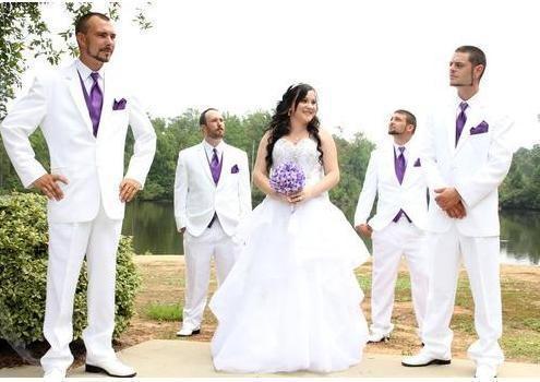 Recién llegado, dos botones, Novios, Esmoquin, Muesca, Solapa, Traje para hombre, Padrinos de boda blancos, Mejores trajes de hombre para bodas Chaqueta + Pantalones + Corbata + Chaleco