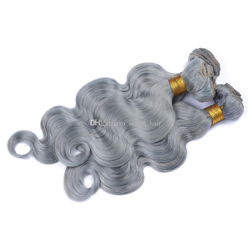 Paquetes de pelo virgen gris plateado con encaje Cierre frontal con pelo de bebé 13x4 Gris Paquetes de pelo de oreja a oreja con tejidos de pelo