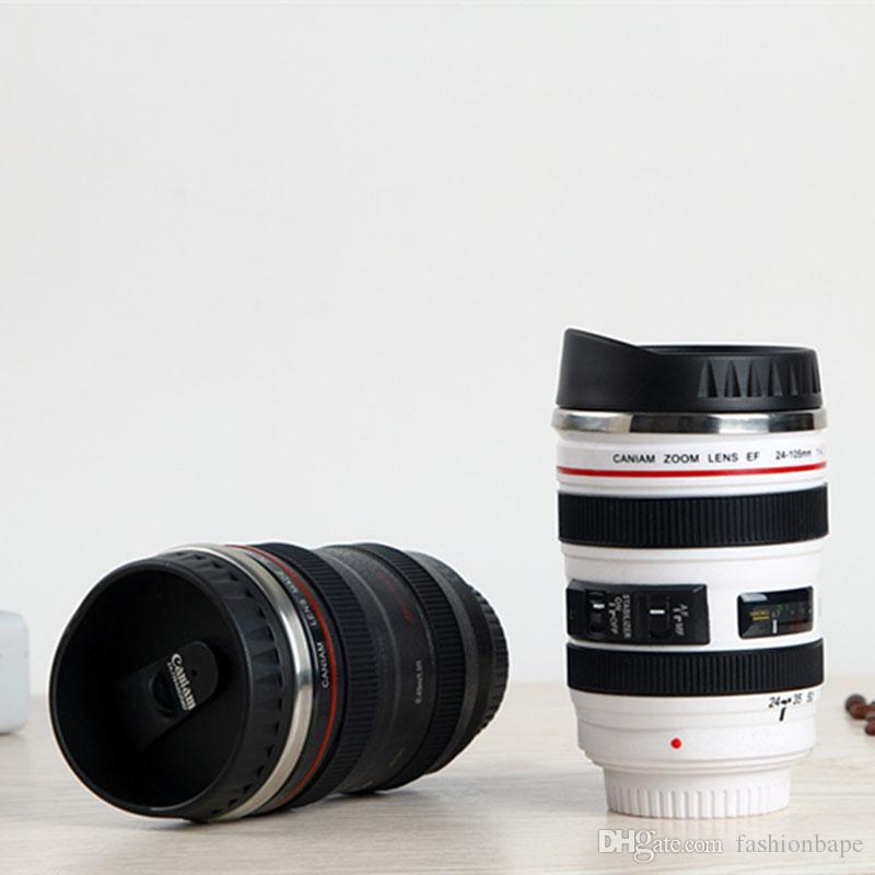 SLR Camera Lens Coffee Cups Creative Drinkware Mugs Stainless Steel Cups Fashion Mug Tea Cups 400ML