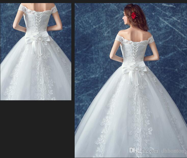 Hochzeitskleid Charming BateauA-Line Brautkleid Kleid Brautjungfer Kleid aus Schulter Brautkleider Brautkleider BD03