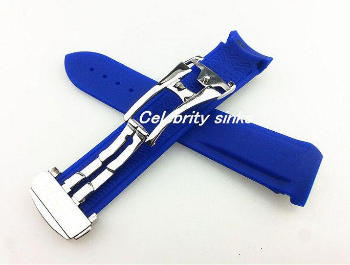 20 mm 18 milímetros fivela strap fivela A nova borracha de silicone de alta qualidade pulseira azul impermeável mergulho prata para Omega Watch
