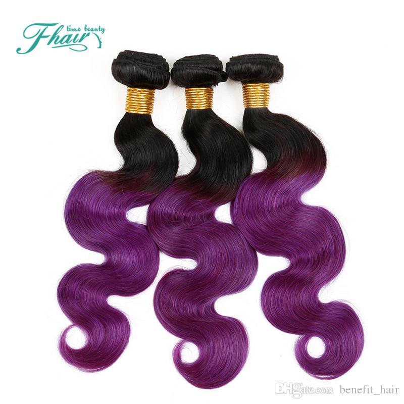 8A brasileña onda del cuerpo de Ombre del color de dos tonos 1B púrpura 4 / Extensiones al por mayor de las PC calientes del pelo humano del pelo brasileño Paquetes