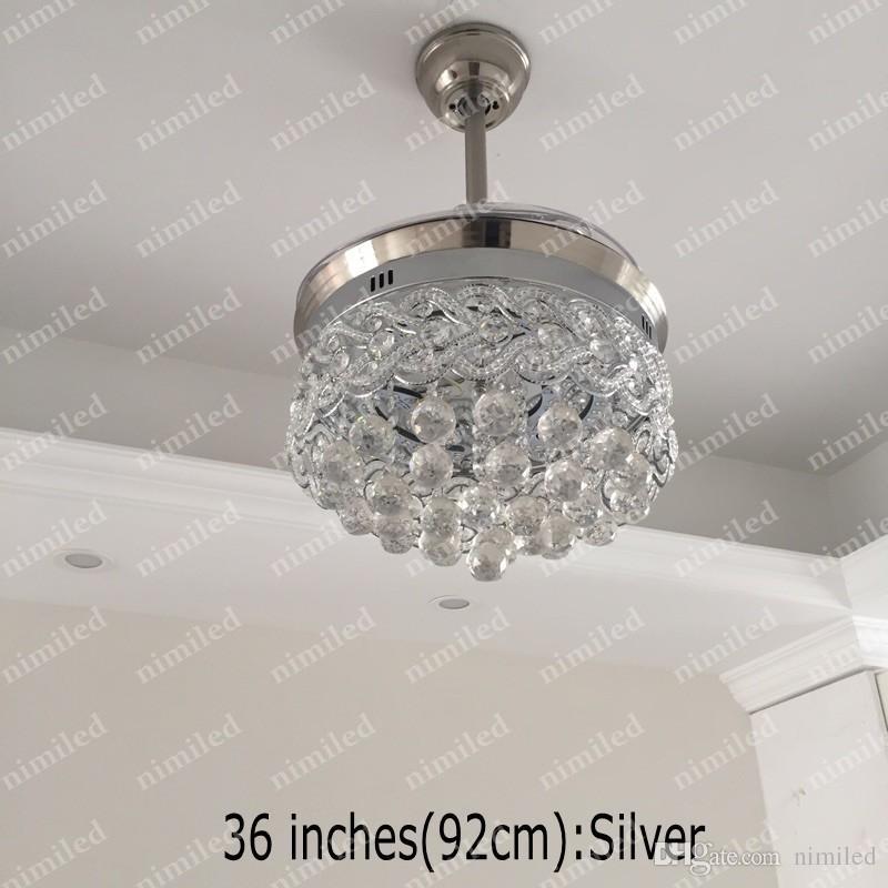 nimi883 디아 36 인치 92cm 보이지 않는 크리스탈 라이트 천장 팬 LED 램프 실내 팔러 천장 조명 펜던트 조명 원격 제어