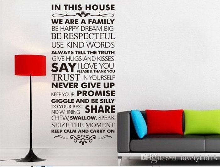 Family Rules House Love Share Promise Wall Stikers Quote Proverb Characters Wall  Decals For Bedroom Living Room Home Decorations Vinyl Wall Clings Vinyl ... Photo Gallery