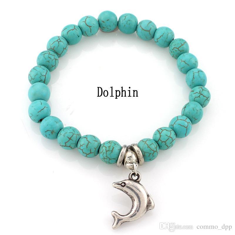 Fashion Turcheise Bracciali Bracciali Albero Gufo Dolphin Cross Palm Charm Bracciali uomo Accessori gioielli Donne