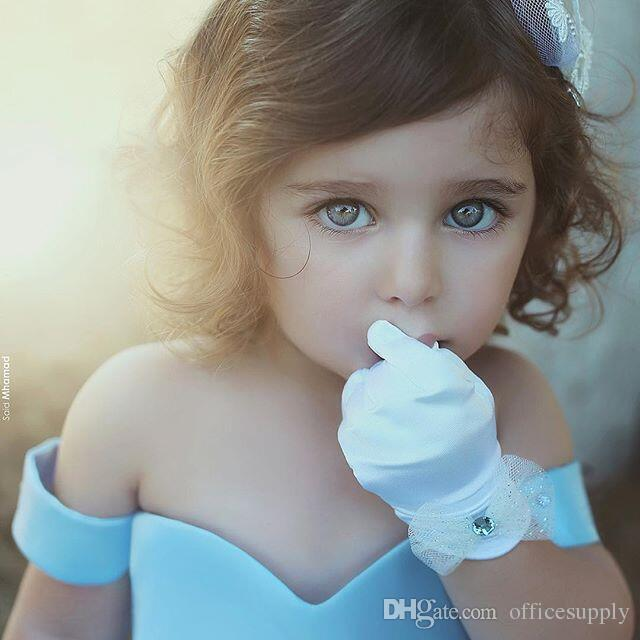 High Low Light Sky Blue Princess Flower Girls Dresses Off The Shoulder Ball Gown Sweep Train With Bow Back Toddler Birthday Party Gowns