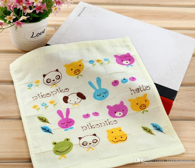 bath towels baby towels washcloths cotton baby bib carton cute small towel for kindergarten children sweat and slobber 26X26CM