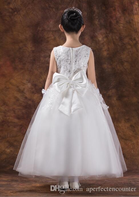 새로운 민소매 화이트 공주 결혼 신부 들러리 드레스 큰 bowknot 아름다운 꽃 파는 소녀 드레스 2016 어린이 생일 파티 드레스