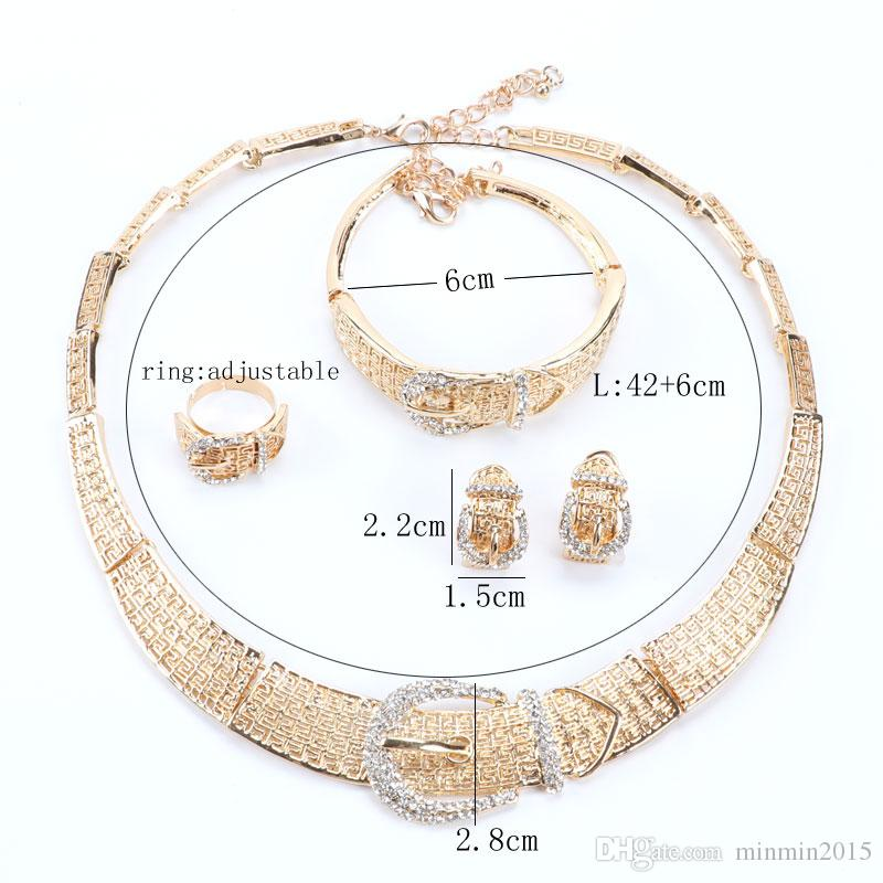 Trendy African Design Rhinestone Fashion Necklace Bracelet Ring Earring High Quality 18K Gold Plated Wedding Jewelry Set