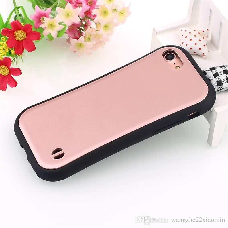 Korea Fashion Silicone TPU+PC Phone Case for iphone 6 6plus for iphone 7 7plus Candy Color Small Waist Soap Slim Mobile Phone Shell
