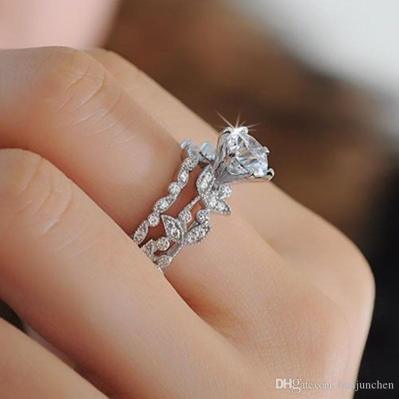 2019 Luxury Tree Leaves Engagement Rings The Princess Diamond Ring