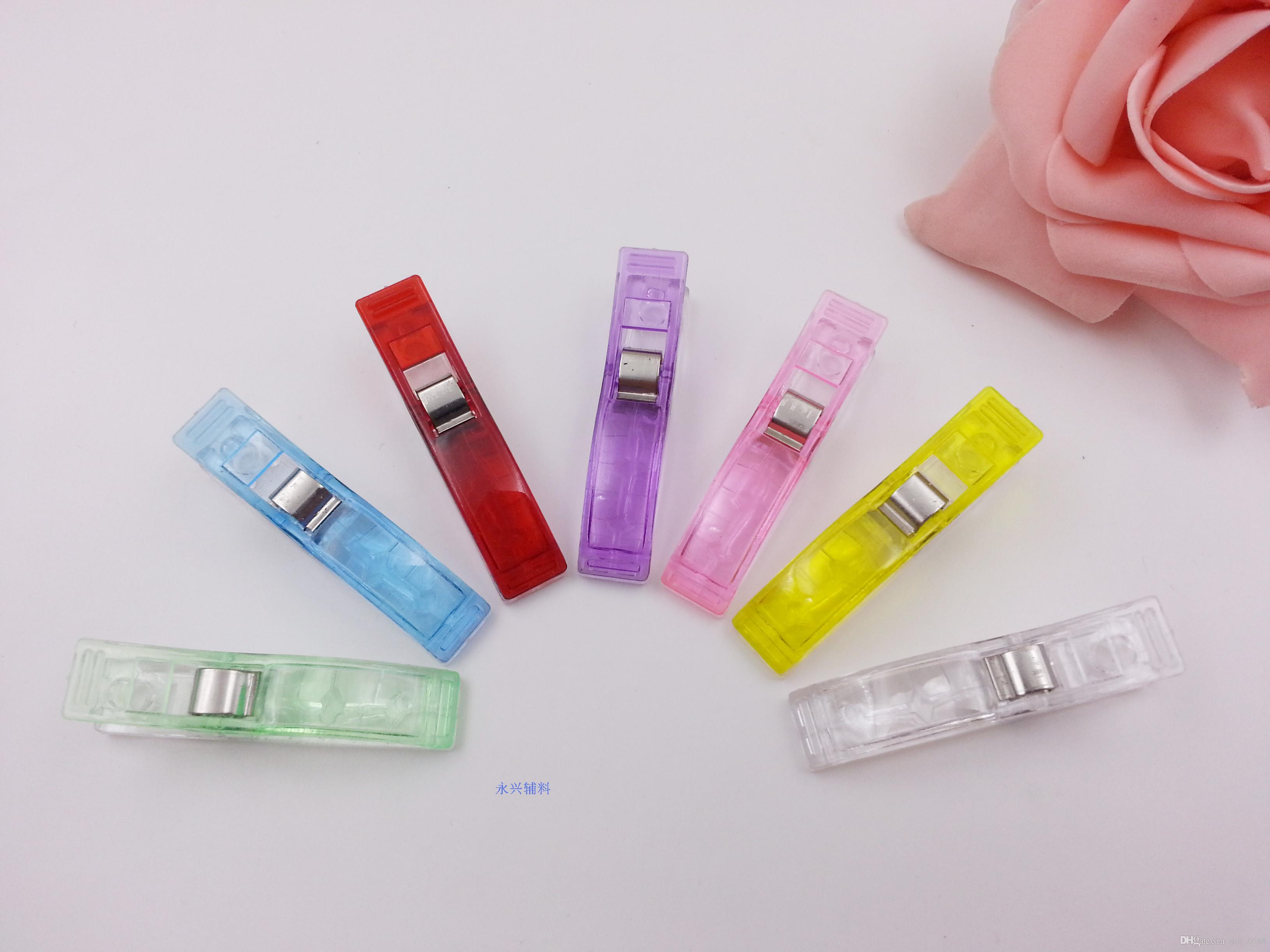 Free shipNew longue section de la pince en plastique clip liant avec main-cousu pièces dossier bureau papeterie Patchwork hache clip clip livraison gratuite