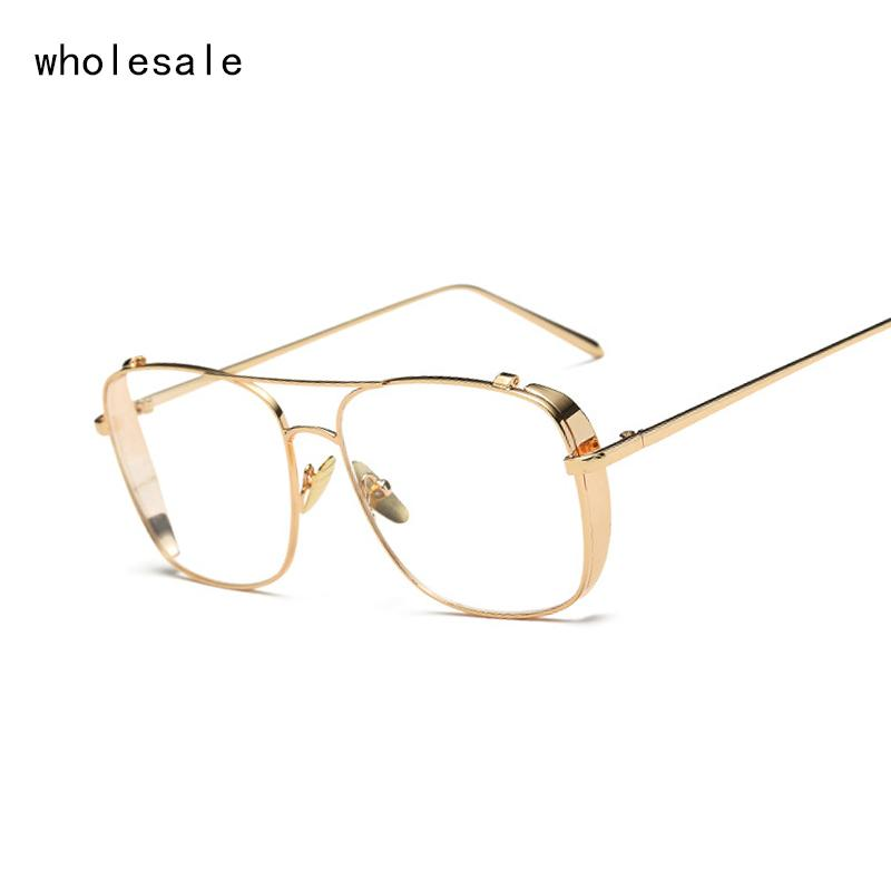 Square Gold Clear Eyeglasses Frames Men Glasses Women Transparent ...
