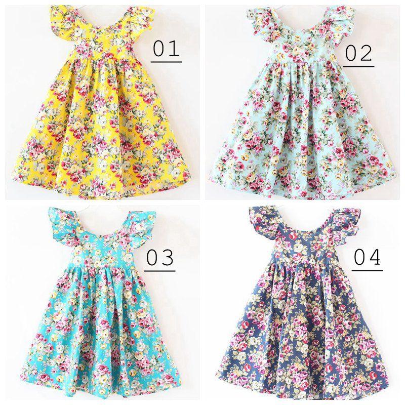 INS Cherry citron coton dos nu DRESS filles robe de plage florale mignon bébé été dos nu licou robe enfants vintage robes de fleurs 12 couleurs