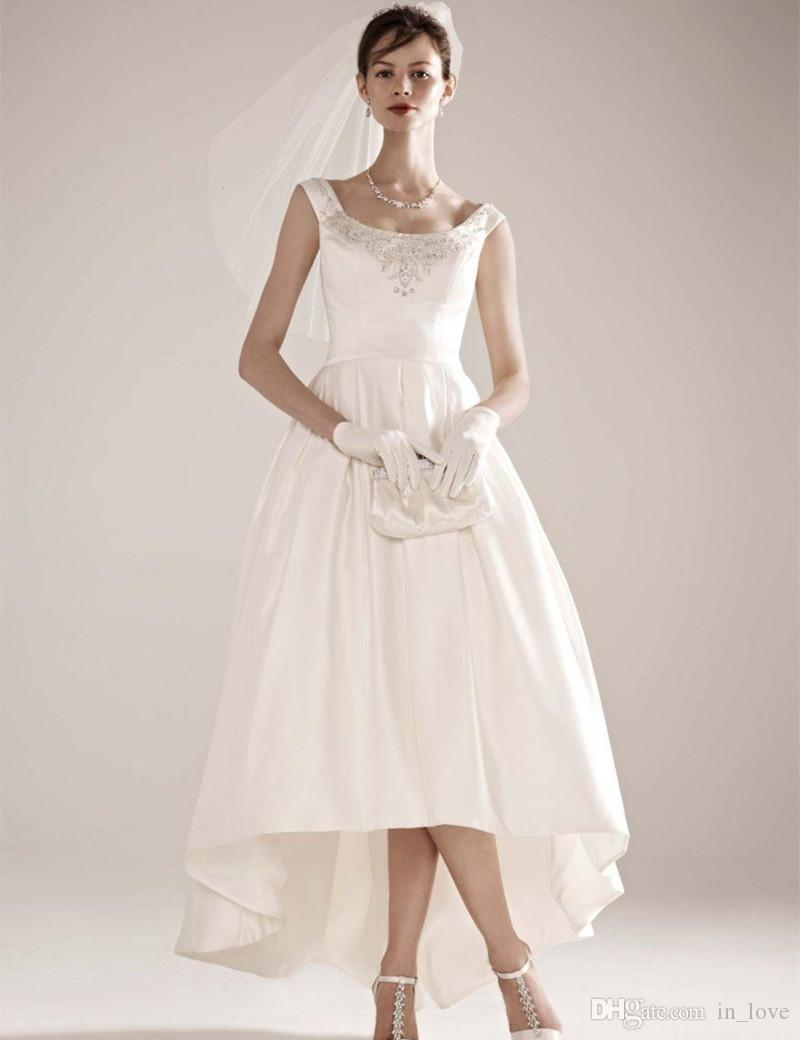 New Fashion Design High Low Wedding Dresses Beading Square Neck Satin Short Front Long Back Bridal Gown vestido de noiva W079