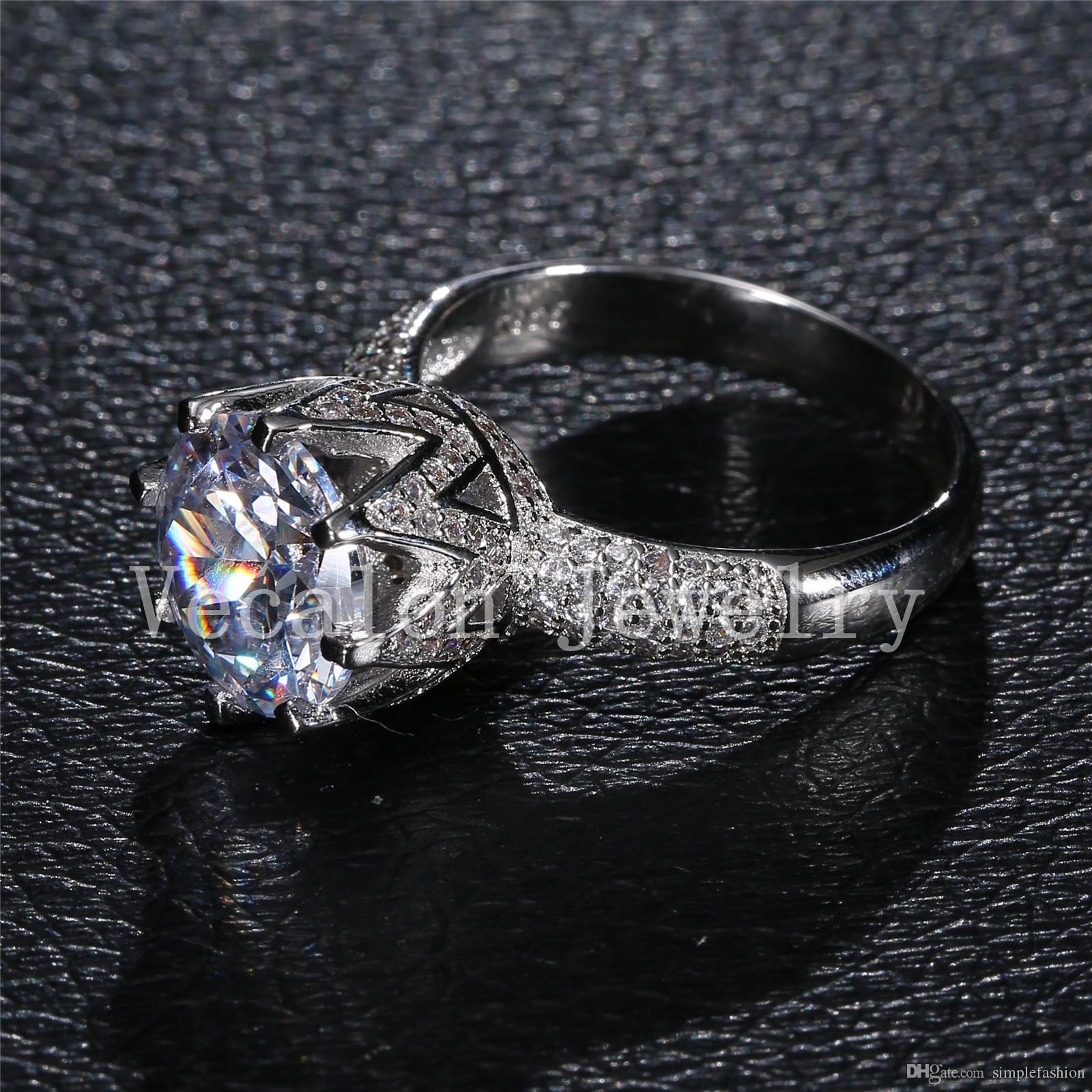 Vecalon Luxury Design Set di fede nuziale donna taglio rotondo 6ct diamante simulato CZ 925 Anello in argento sterling femmina
