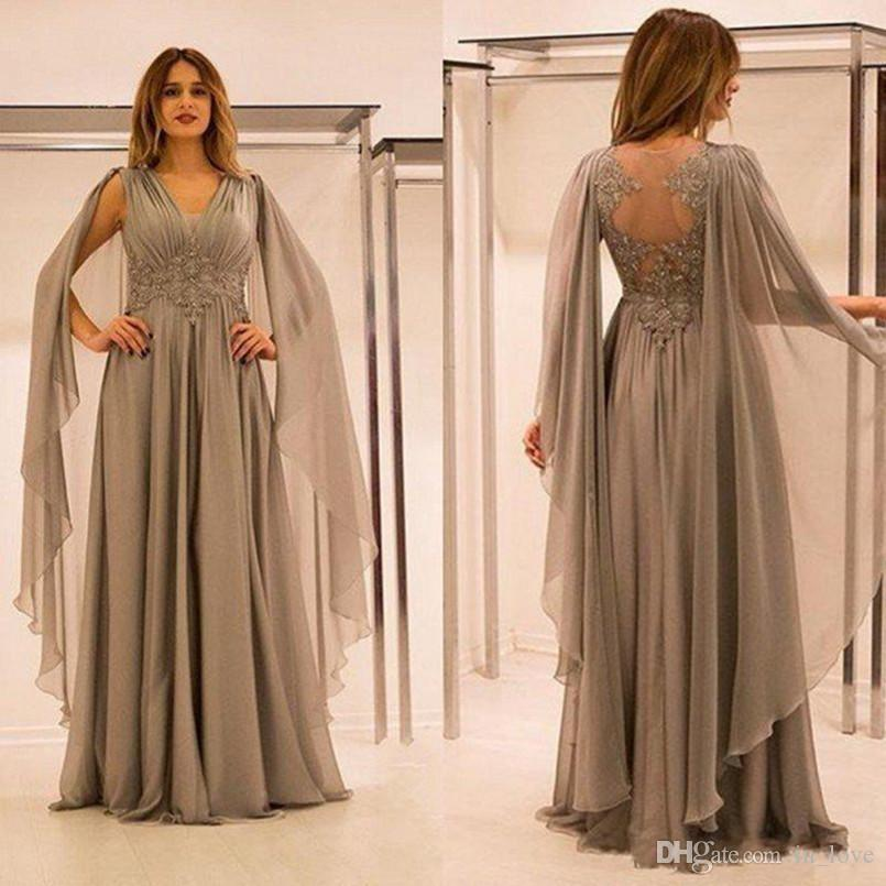 Elegant Long Gray Mother of the Bride Dress Shawl Sleeves Appliques Chiffon Floor Length Women Formal Gowns Custom Size