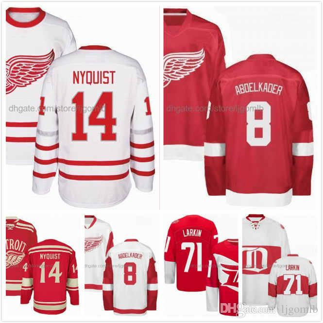 535c7537a95 2019 Dylan Larkin Jersey 71 Gustav Nyquist Jersey 14 Justin Abdelkader 8  Mens Ice Hockey Jerseys Detroit Red Wings Red White Full Stitched S 3XL  From ...