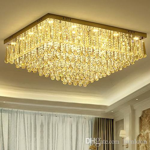 Dimmable Led Chandeliers Ceiling Light Led Rectangle European Modern Romantic Crystal Ceiling
