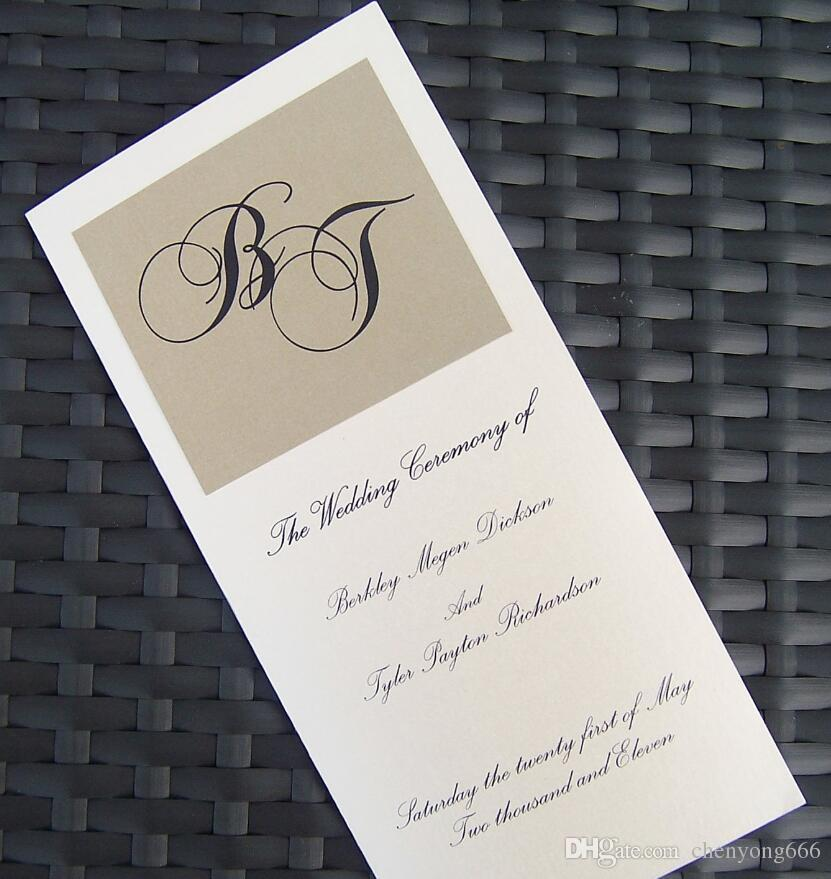Gold & Ivory Wedding Programs Free Customized Printing Monogram ...