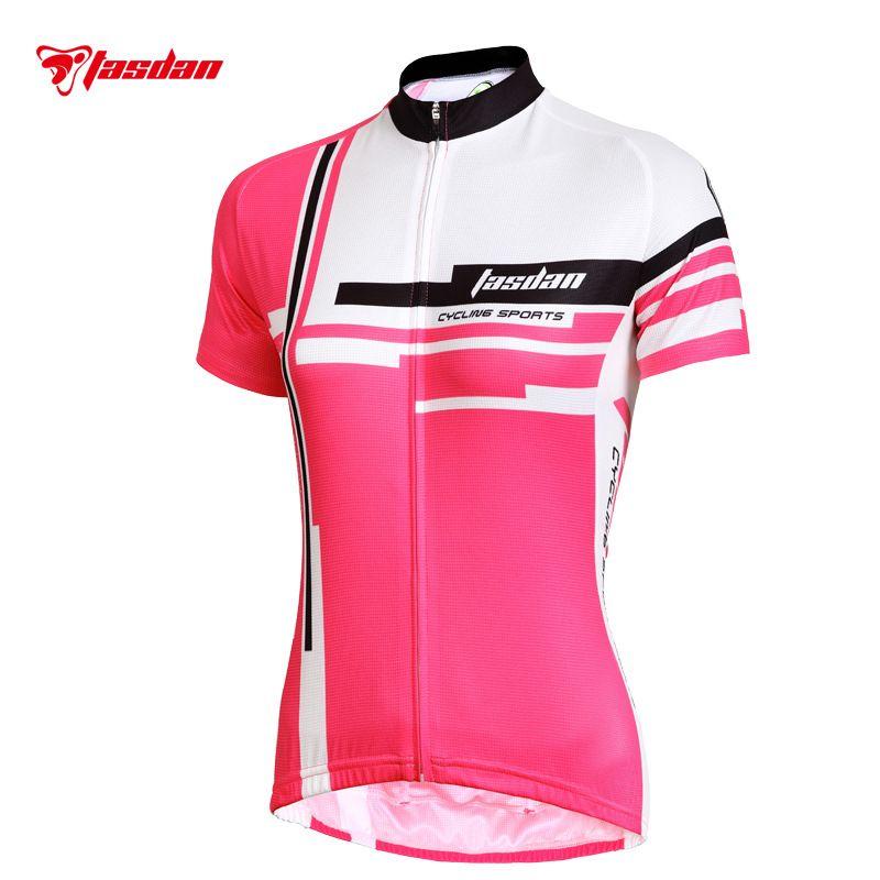 Tasdan Kundengebundene Damen, die Jerseys-Sätze kurz und Sport-Fahrrad-Jersey der roten und rosafarbenen Farbmodernen Frauen kurzschließen