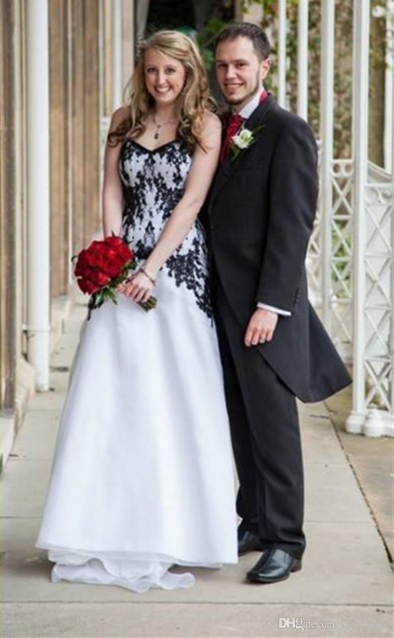 Eine Linie Hochzeitskleid 2019 schwarz Applikationen V-Ausschnitt Vintage Garten Brautkleider Custom Made US2-26W + + Organza elegante neueste Design