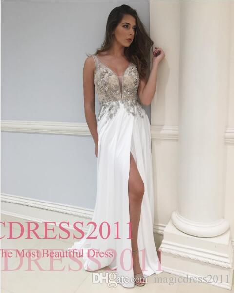 2018 Chapel Classic Sparkle Prom Dresses A Line V Neck Floor Length Chiffon Applique White Split Evening Dresses