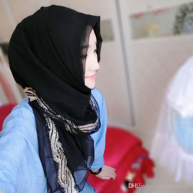 Muçulmano Hijab Jersey Lenço Mulheres Head Coverings Femmes Turbante Hijabs Cinza Véu Islâmico Trecho Bandana Moda Tamanho Grande