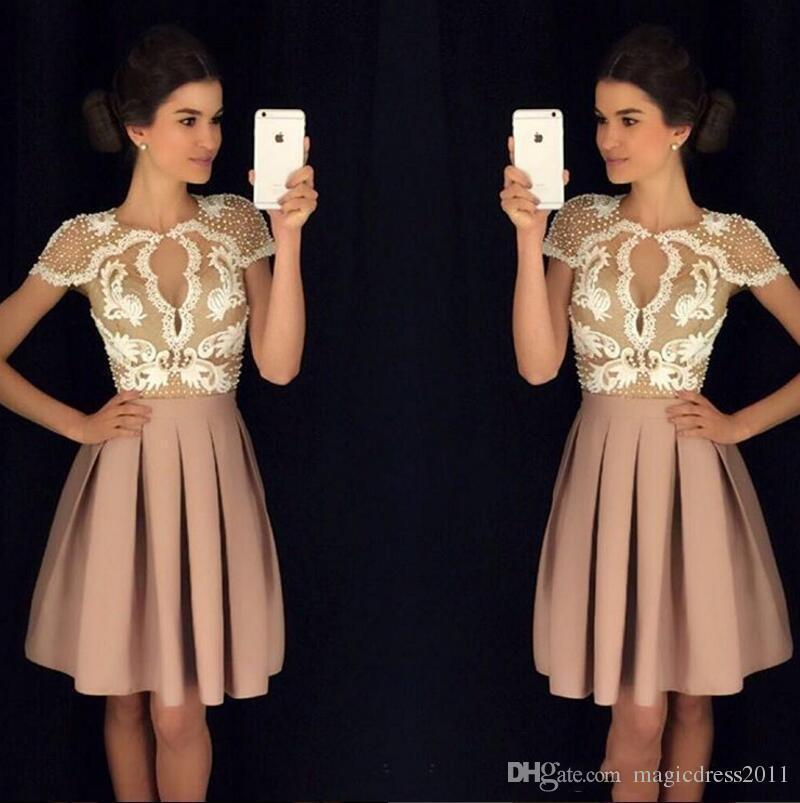 35b60de9cd Vintage Lace Beaded 2018 Arabic Homecoming Dresses Sheer Jewel Neck ...